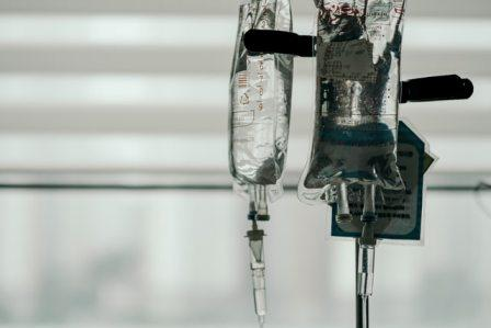 The new COVID-19 plasma treatment is administered intravenously through a drip bag, shown here.